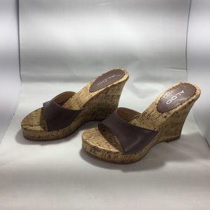New Aldo brown cork wedge heels size 37